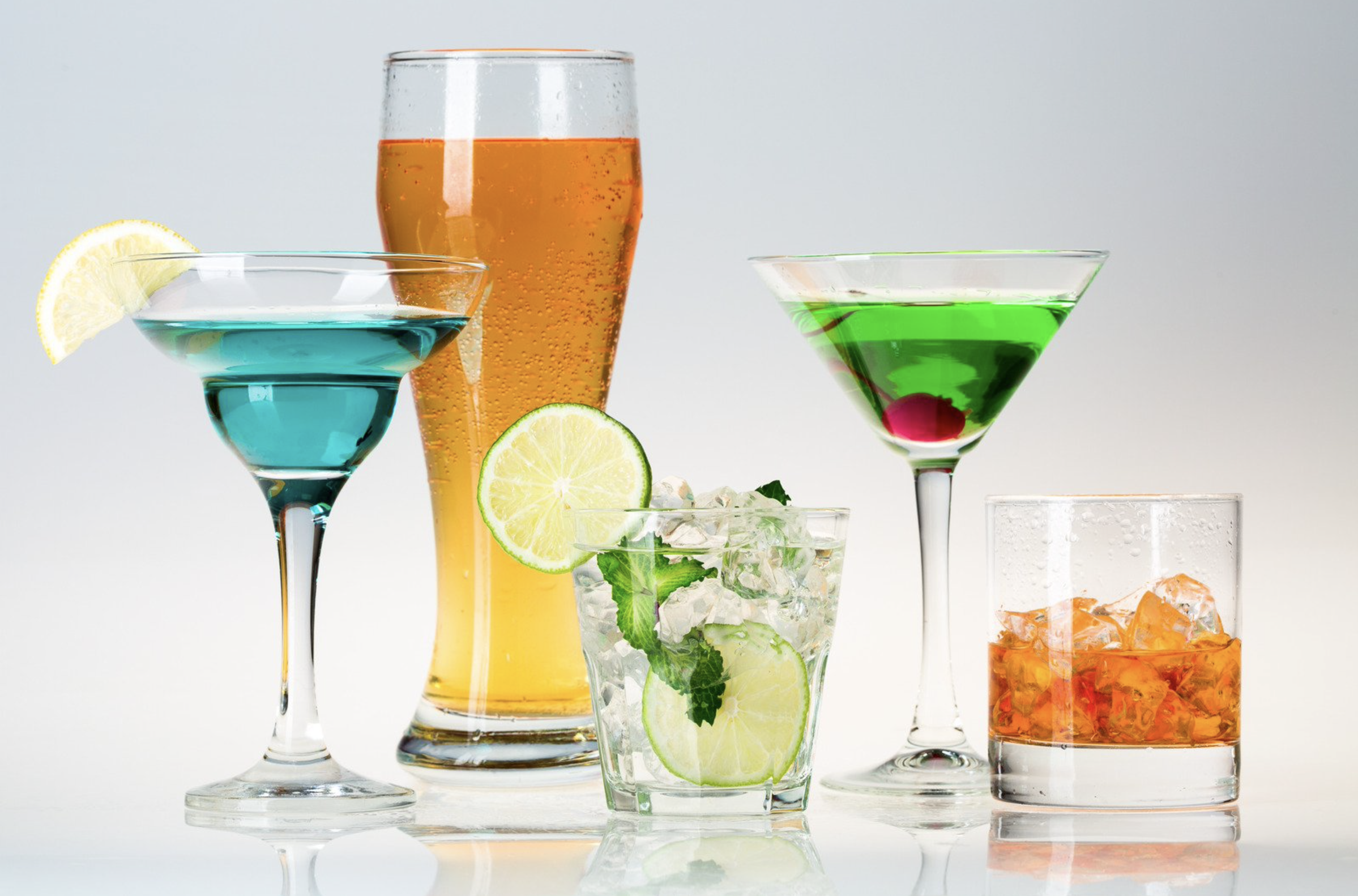 Assortment of colored alcoholic drinks
